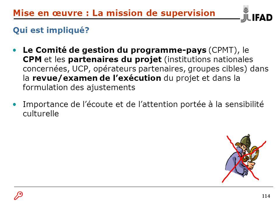 114 Le Comité de gestion du programme-pays (CPMT), le CPM et les partenaires du projet (institutions nationales concernées, UCP, opérateurs partenaire
