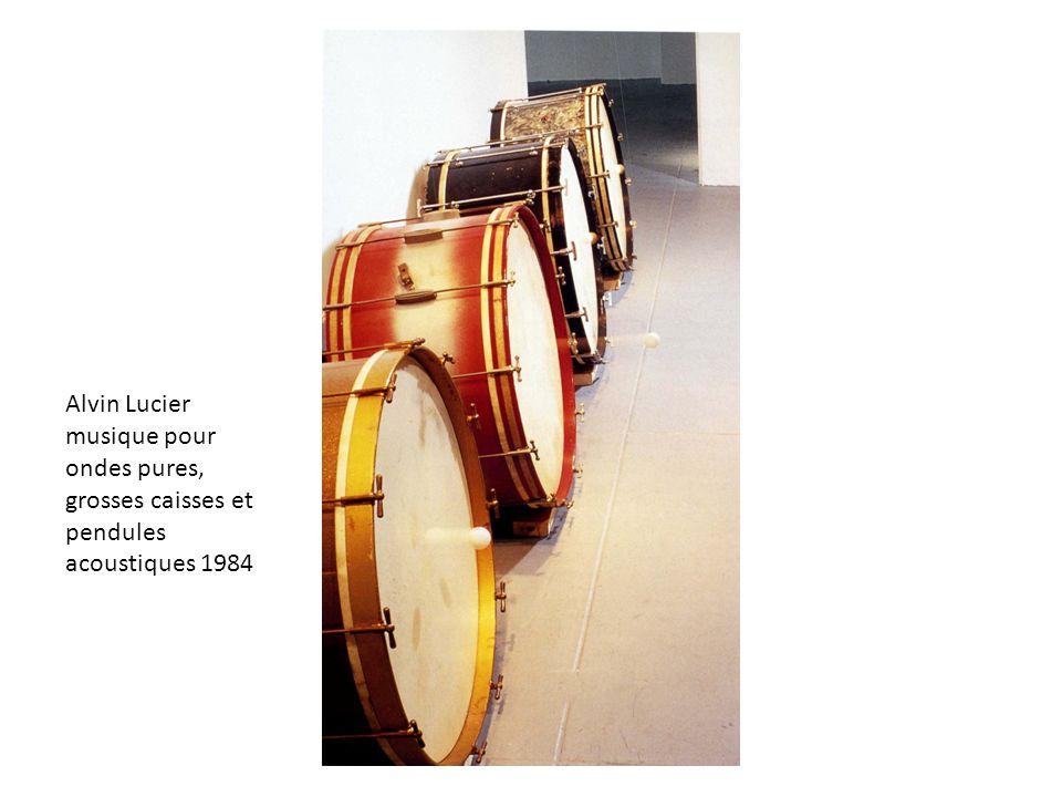 Alvin Lucier musique pour ondes pures, grosses caisses et pendules acoustiques 1984