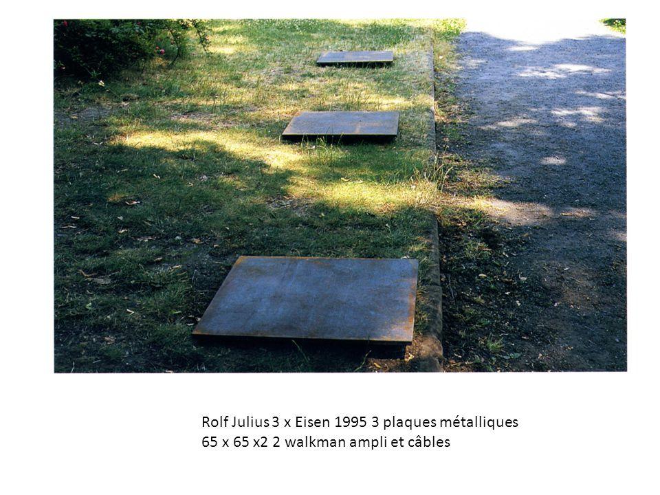Rolf Julius 3 x Eisen 1995 3 plaques métalliques 65 x 65 x2 2 walkman ampli et câbles