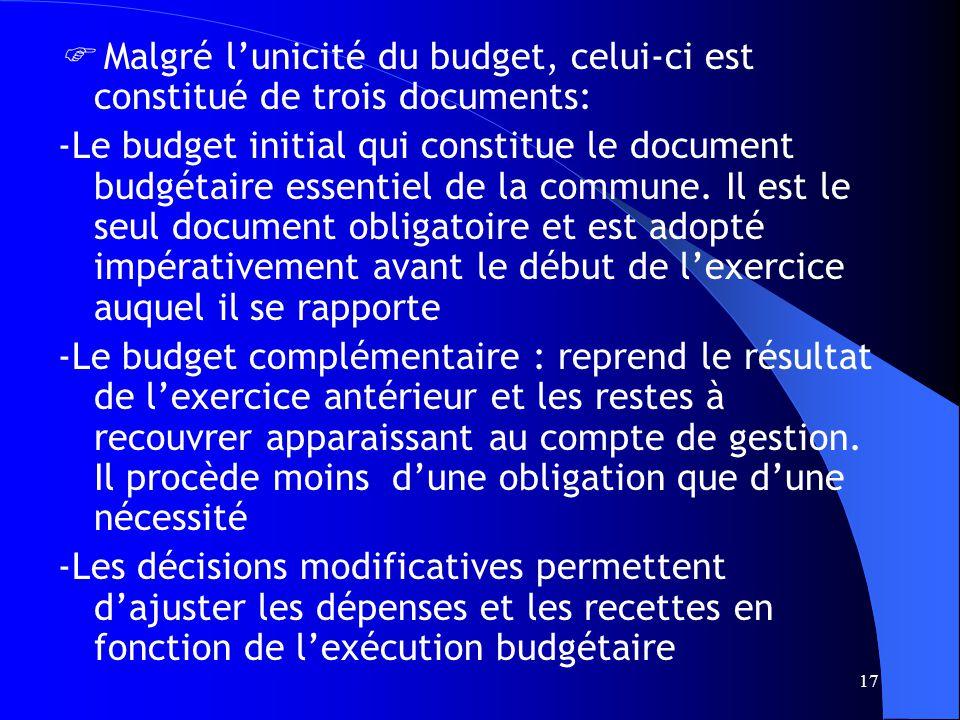 17 Malgré lunicité du budget, celui-ci est constitué de trois documents: -Le budget initial qui constitue le document budgétaire essentiel de la commune.