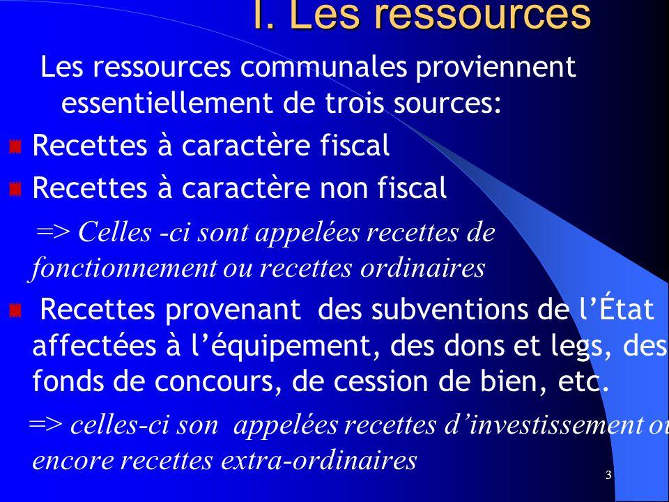 3 I.Les ressources I.