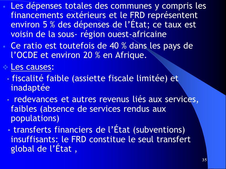 35 Les dépenses totales des communes y compris les financements extérieurs et le FRD représentent environ 5 % des dépenses de lÉtat; ce taux est voisin de la sous- région ouest-africaine Ce ratio est toutefois de 40 % dans les pays de lOCDE et environ 20 % en Afrique.