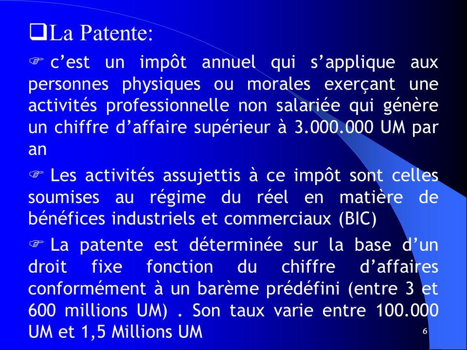 6 - La Patente: cest un impôt annuel qui sapplique aux personnes physiques ou morales exerçant une activités professionnelle non salariée qui génère un chiffre daffaire supérieur à 3.000.000 UM par an Les activités assujettis à ce impôt sont celles soumises au régime du réel en matière de bénéfices industriels et commerciaux (BIC) La patente est déterminée sur la base dun droit fixe fonction du chiffre daffaires conformément à un barème prédéfini (entre 3 et 600 millions UM).