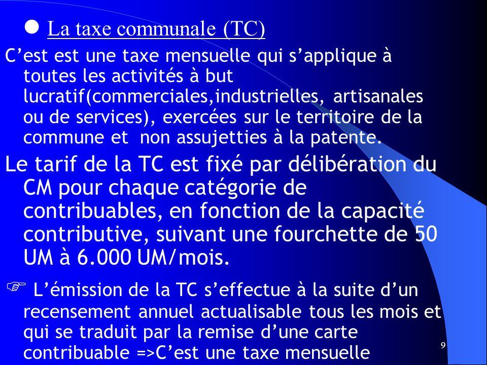 9 La taxe communale (TC) Cest est une taxe mensuelle qui sapplique à toutes les activités à but lucratif(commerciales,industrielles, artisanales ou de services), exercées sur le territoire de la commune et non assujetties à la patente.