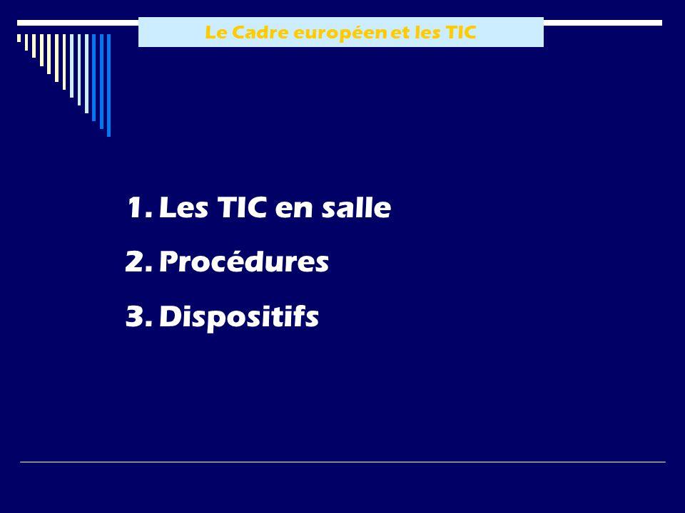 Le Cadre européen et les TIC 1.Les TIC en salle 2.Procédures 3.Dispositifs