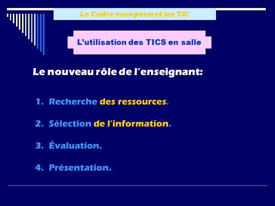 Le Cadre européen et les TIC Lutilisation des TICS en salle Le nouveau rôle de lenseignant: 1.Recherche des ressources. 2.Sélection de linformation. 3