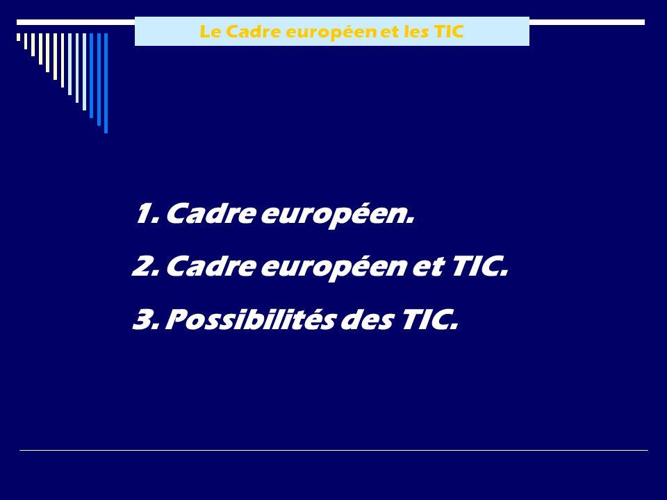 Le Cadre européen et les TIC 1.Cadre européen. 2.Cadre européen et TIC. 3.Possibilités des TIC.