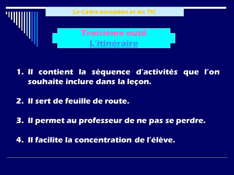 Le Cadre européen et les TIC 1.Il contient la séquence dactivités que lon souhaite inclure dans la leçon.