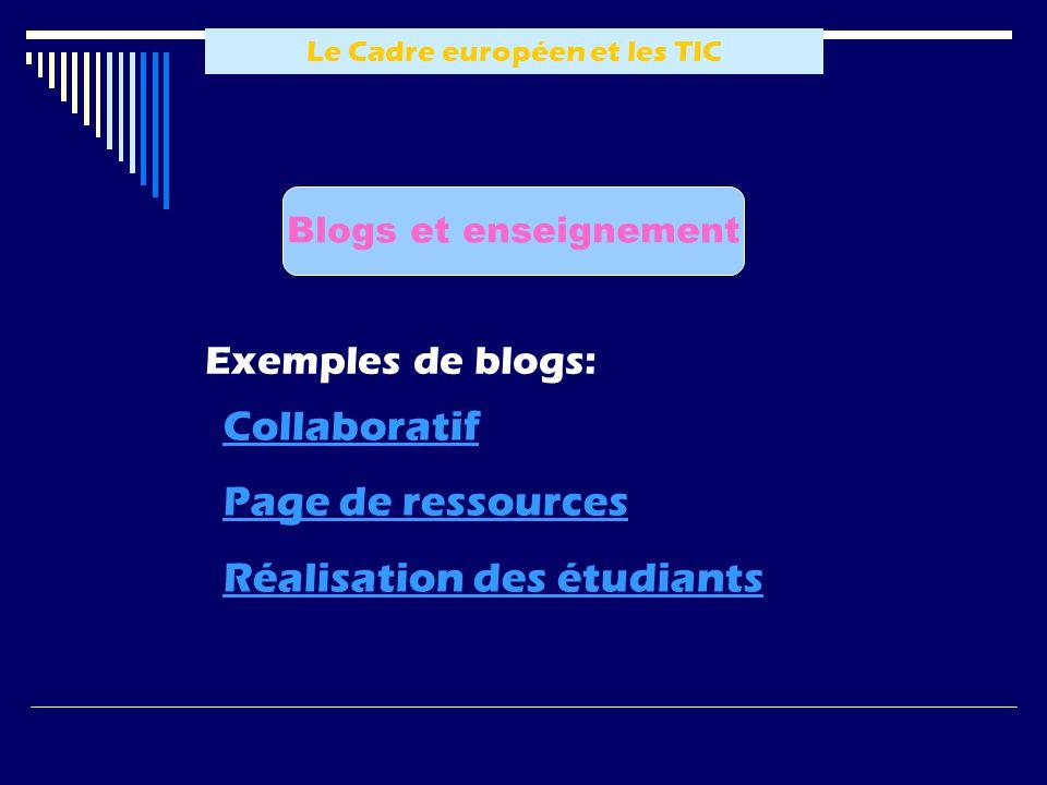 Le Cadre européen et les TIC Blogs et enseignement Exemples de blogs: Collaboratif Page de ressources Réalisation des étudiants