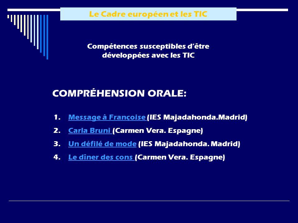 Compétences susceptibles dêtre développées avec les TIC 1.MMessage à Françoise (IES Majadahonda.Madrid) 2.CCarla Bruni (Carmen Vera. Espagne) 3.UUn dé