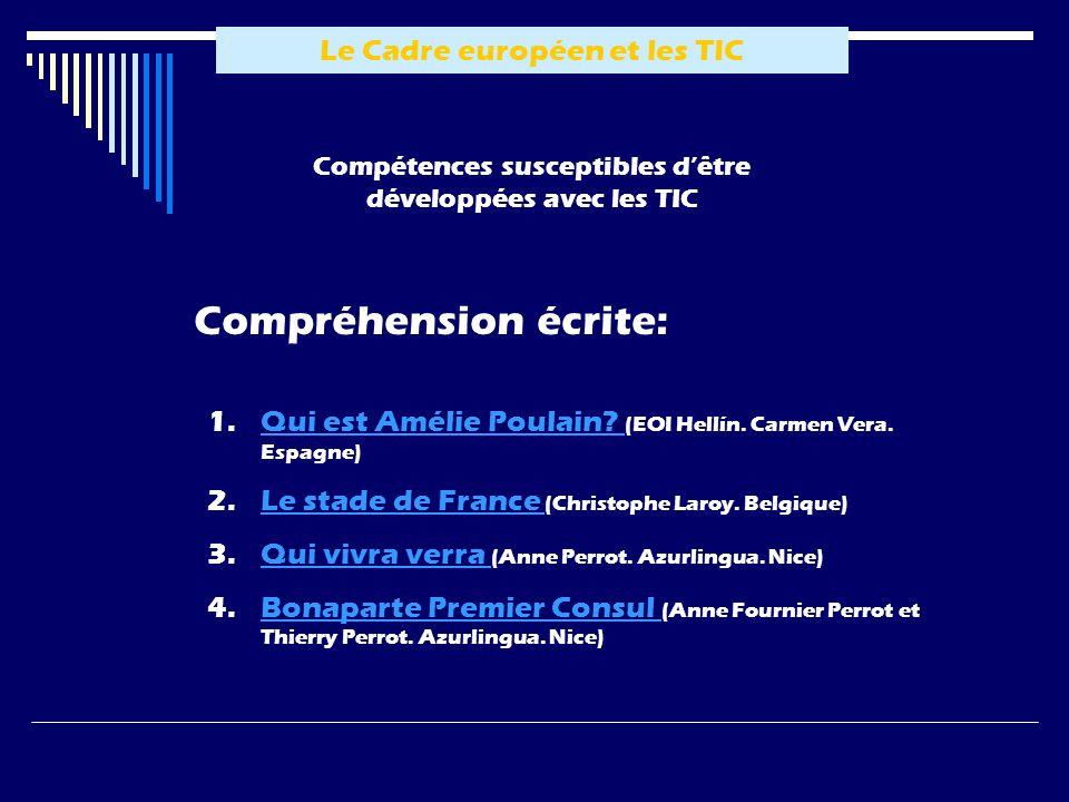 Le Cadre européen et les TIC Compréhension écrite: Compétences susceptibles dêtre développées avec les TIC 1.QQui est Amélie Poulain.