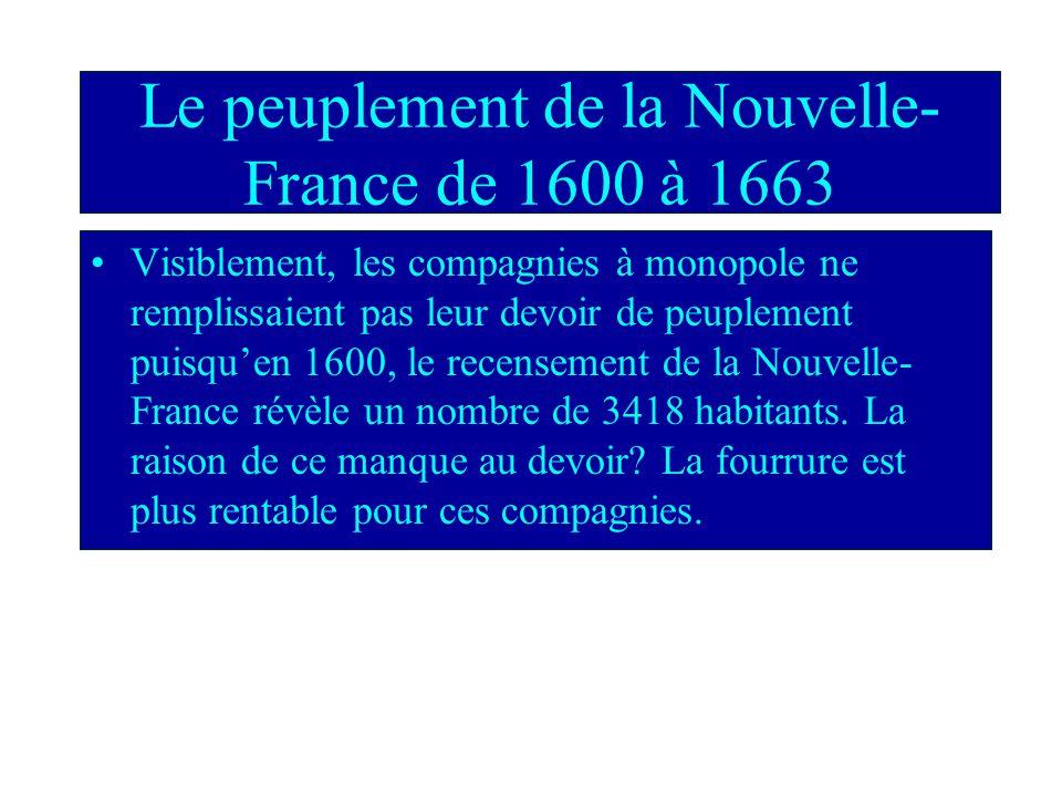 Les compagnies à monopole Le roi de France adorait les compagnies a monopole puisquil navait pas a soccuper de peupler la colonie. Il offrait le monop