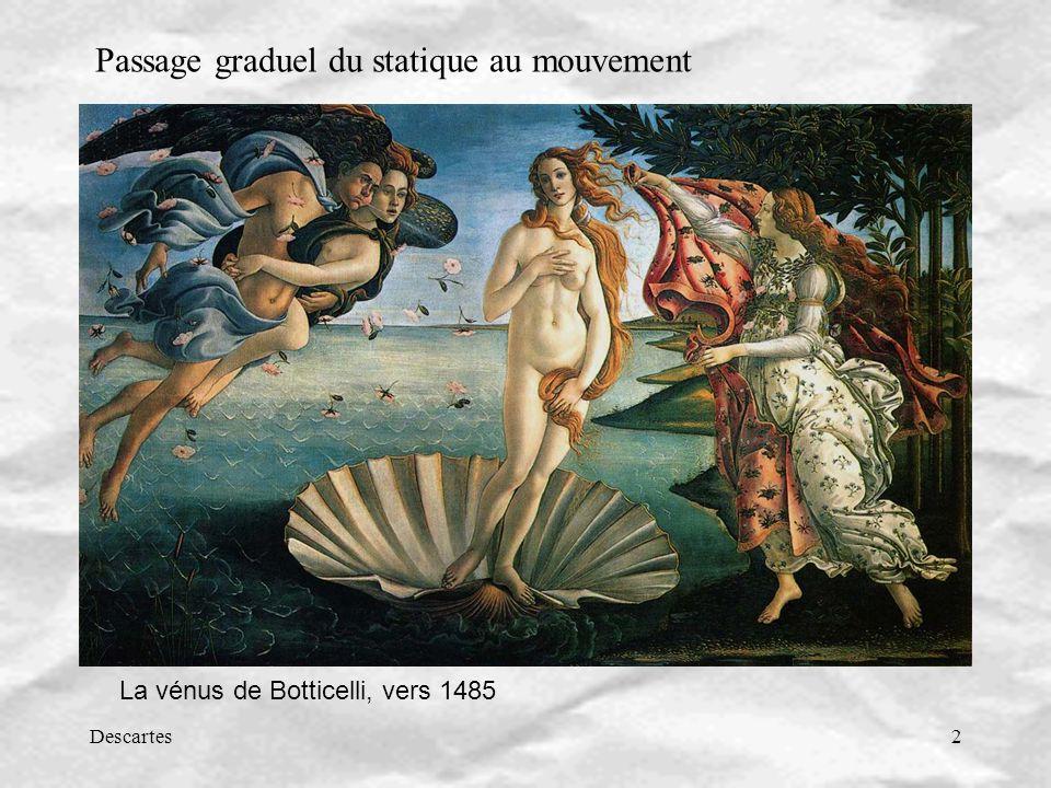Descartes2 La vénus de Botticelli, vers 1485 Passage graduel du statique au mouvement