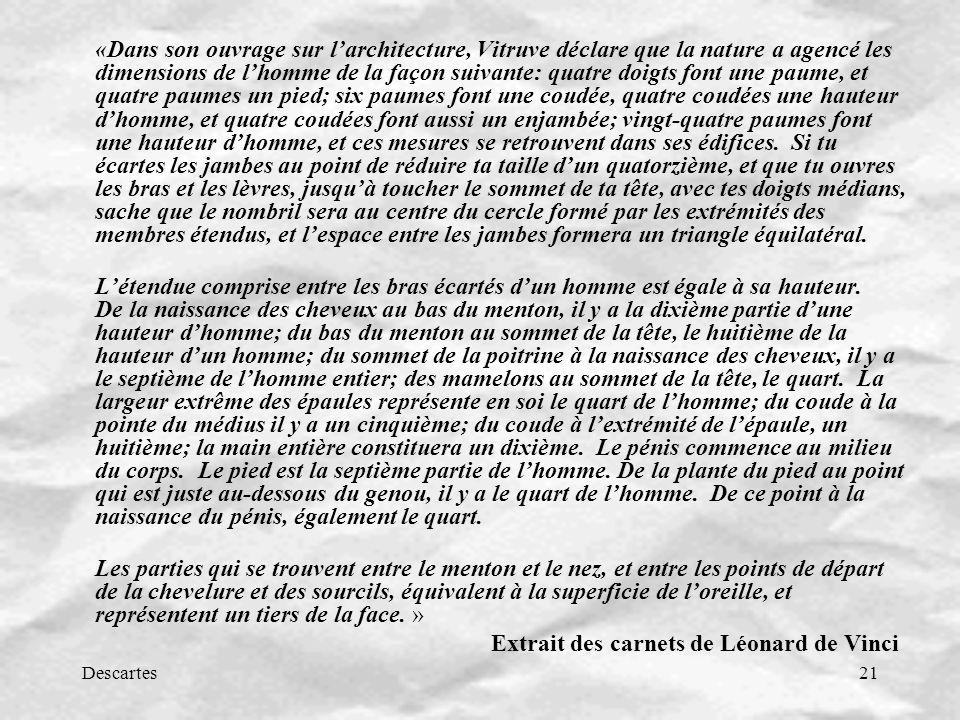 Descartes21 «Dans son ouvrage sur larchitecture, Vitruve déclare que la nature a agencé les dimensions de lhomme de la façon suivante: quatre doigts f
