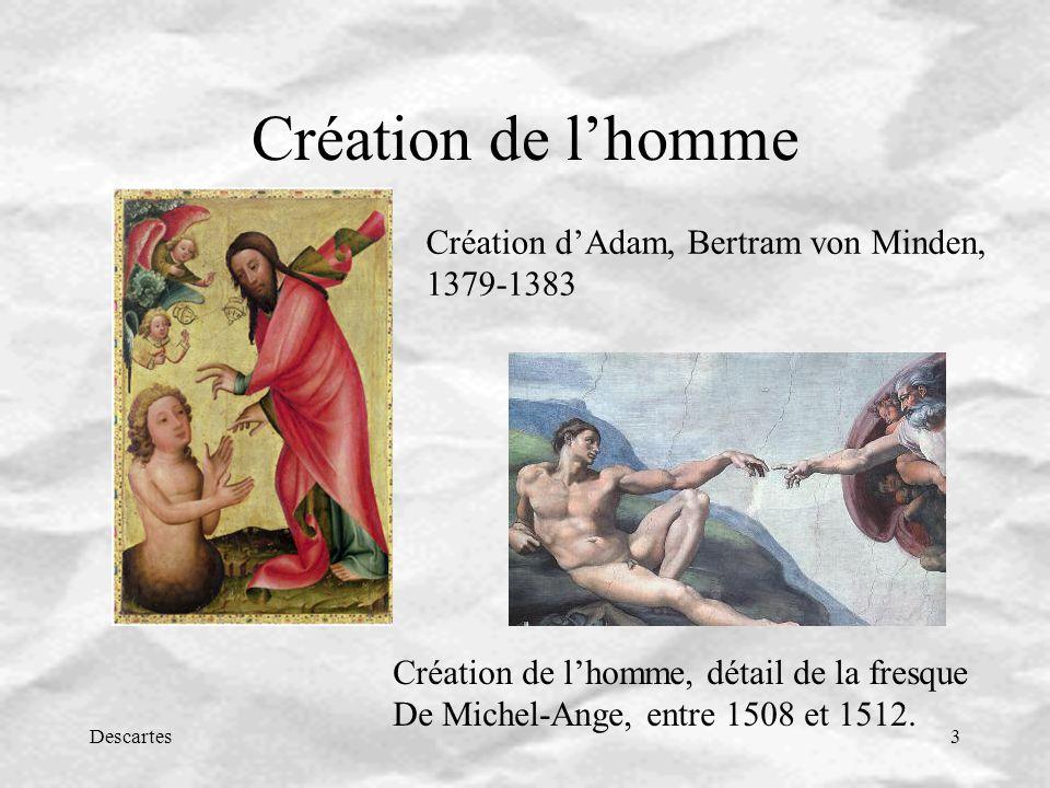 Descartes3 Création de lhomme Création dAdam, Bertram von Minden, 1379-1383 Création de lhomme, détail de la fresque De Michel-Ange, entre 1508 et 151