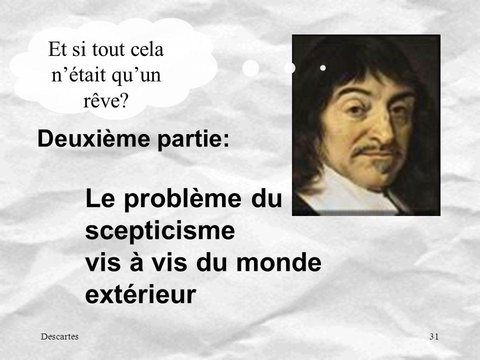 Descartes31 Deuxième partie: Le problème du scepticisme vis à vis du monde extérieur Et si tout cela nétait quun rêve?