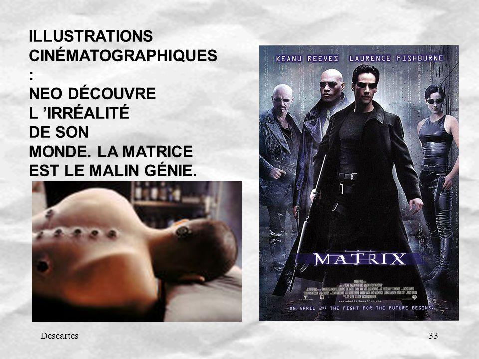 Descartes33 ILLUSTRATIONS CINÉMATOGRAPHIQUES : NEO DÉCOUVRE L IRRÉALITÉ DE SON MONDE. LA MATRICE EST LE MALIN GÉNIE.