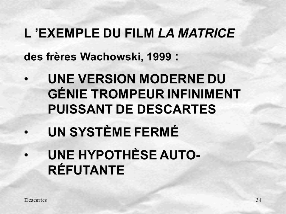 Descartes34 L EXEMPLE DU FILM LA MATRICE des frères Wachowski, 1999 : UNE VERSION MODERNE DU GÉNIE TROMPEUR INFINIMENT PUISSANT DE DESCARTES UN SYSTÈME FERMÉ UNE HYPOTHÈSE AUTO- RÉFUTANTE