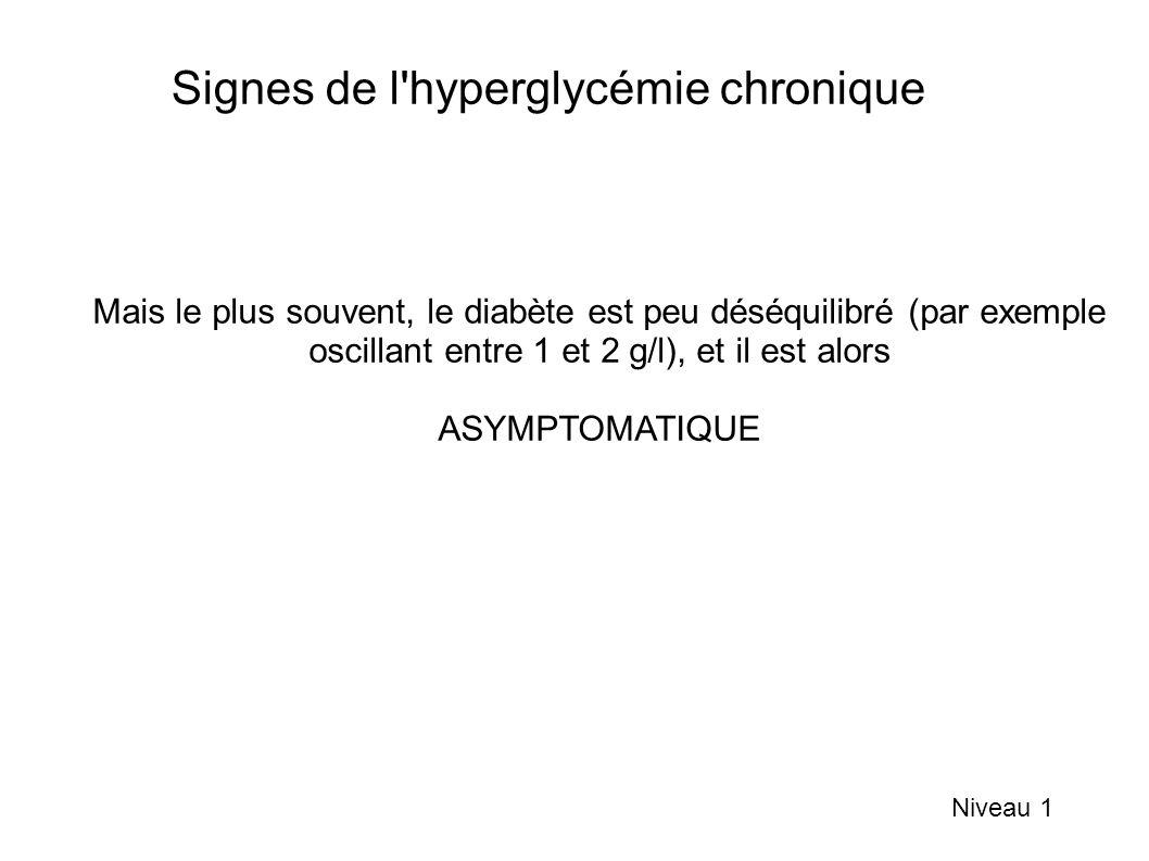 Signes de l hyperglycémie chronique Niveau 1 Mais le plus souvent, le diabète est peu déséquilibré (par exemple oscillant entre 1 et 2 g/l), et il est alors ASYMPTOMATIQUE