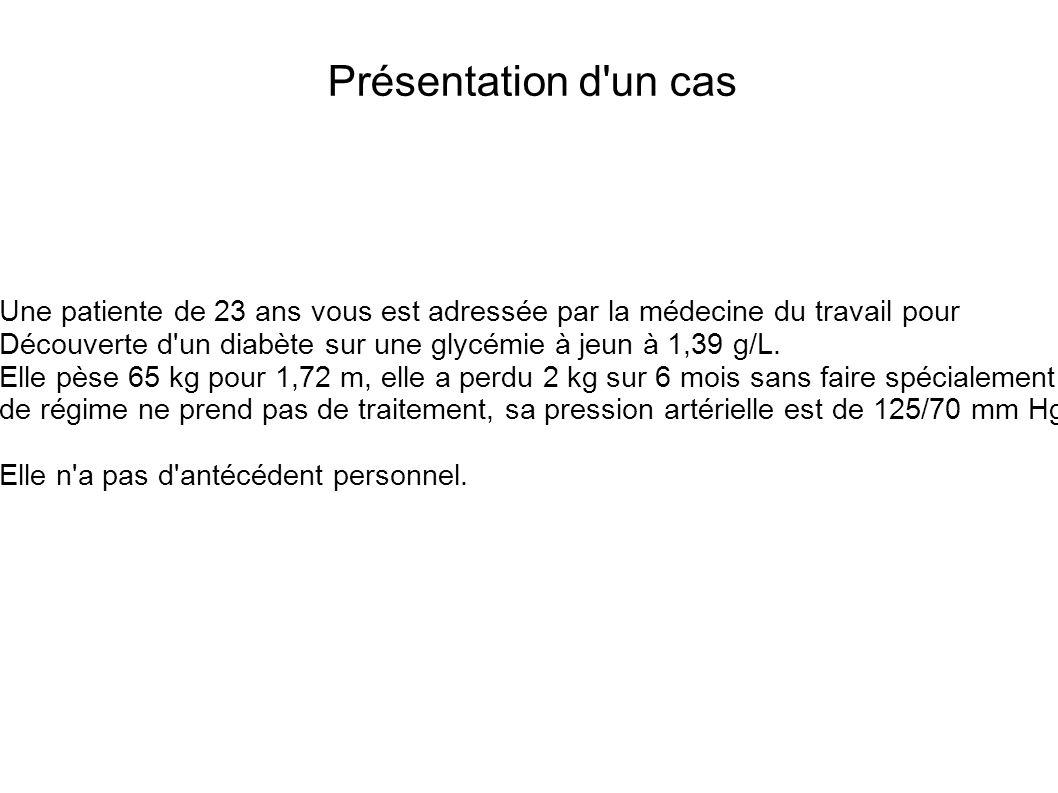 Présentation d un cas Une patiente de 23 ans vous est adressée par la médecine du travail pour Découverte d un diabète sur une glycémie à jeun à 1,39 g/L.