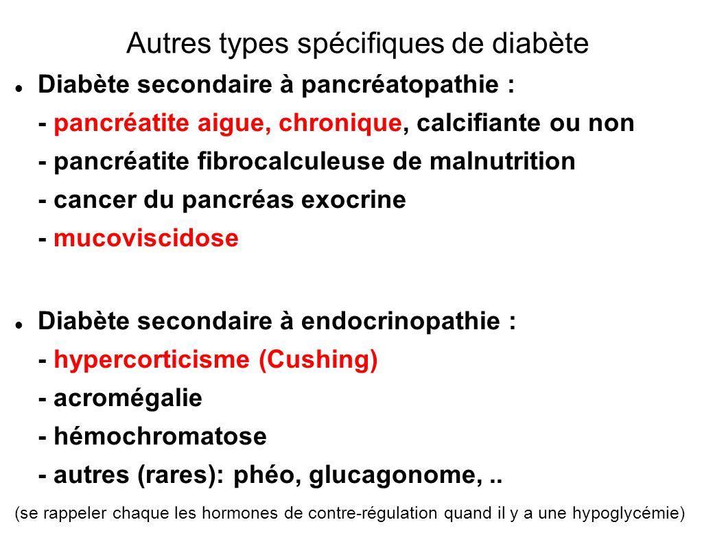Diabète secondaire à pancréatopathie : - pancréatite aigue, chronique, calcifiante ou non - pancréatite fibrocalculeuse de malnutrition - cancer du pancréas exocrine - mucoviscidose Diabète secondaire à endocrinopathie : - hypercorticisme (Cushing) - acromégalie - hémochromatose - autres (rares): phéo, glucagonome,..