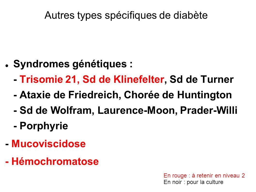 Syndromes génétiques : - Trisomie 21, Sd de Klinefelter, Sd de Turner - Ataxie de Friedreich, Chorée de Huntington - Sd de Wolfram, Laurence-Moon, Prader-Willi - Porphyrie - Mucoviscidose - Hémochromatose Autres types spécifiques de diabète En rouge : à retenir en niveau 2 En noir : pour la culture