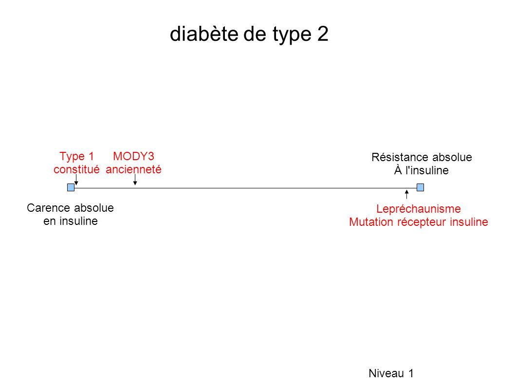 diabète de type 2 Niveau 1 Carence absolue en insuline Résistance absolue À l insuline Type 1 constitué MODY3 ancienneté Lepréchaunisme Mutation récepteur insuline