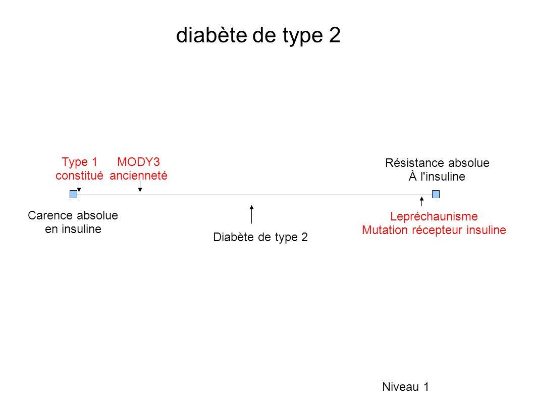 diabète de type 2 Niveau 1 Carence absolue en insuline Résistance absolue À l insuline Type 1 constitué MODY3 ancienneté Lepréchaunisme Mutation récepteur insuline Diabète de type 2