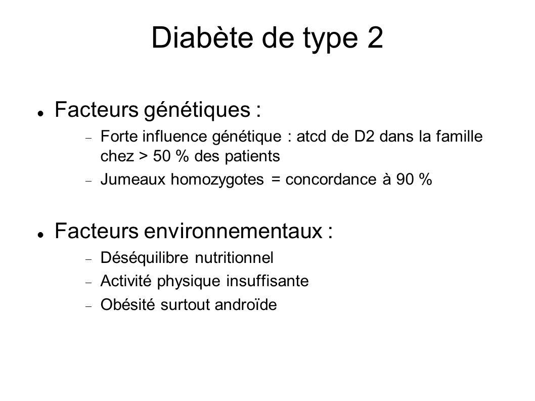 Facteurs génétiques : Forte influence génétique : atcd de D2 dans la famille chez > 50 % des patients Jumeaux homozygotes = concordance à 90 % Facteurs environnementaux : Déséquilibre nutritionnel Activité physique insuffisante Obésité surtout androïde