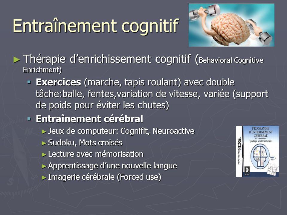 Entraînement cognitif Thérapie denrichissement cognitif ( Behavioral Cognitive Enrichment) Thérapie denrichissement cognitif ( Behavioral Cognitive En