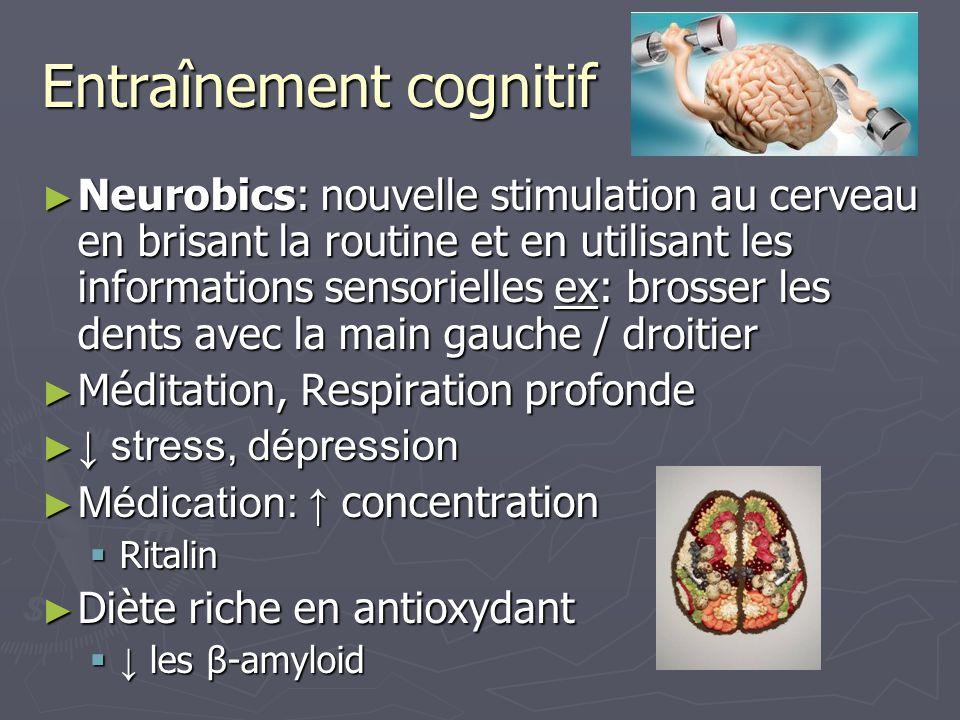Entraînement cognitif Neurobics: nouvelle stimulation au cerveau en brisant la routine et en utilisant les informations sensorielles ex: brosser les d
