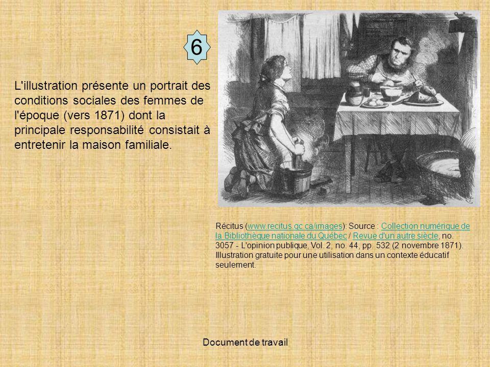 Document de travail L'illustration présente un portrait des conditions sociales des femmes de l'époque (vers 1871) dont la principale responsabilité c