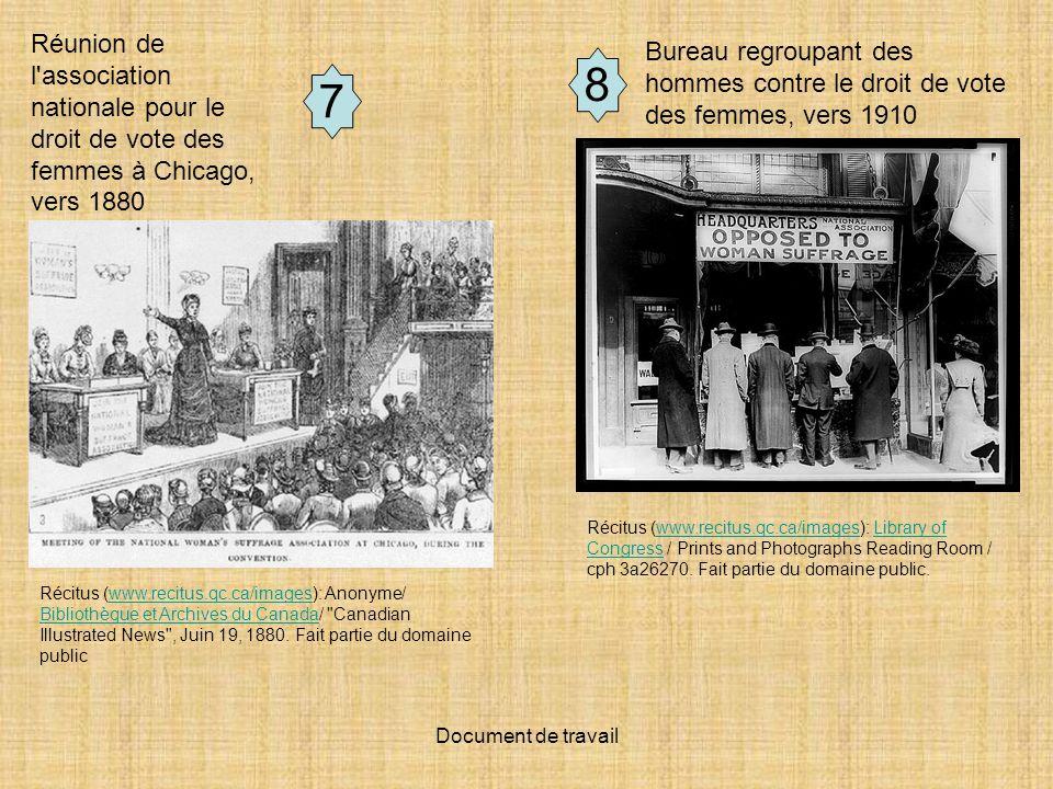 Document de travail 7 Bureau regroupant des hommes contre le droit de vote des femmes, vers 1910 Récitus (www.recitus.qc.ca/images): Anonyme/ Biblioth