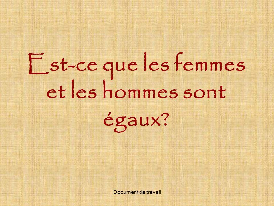 Est-ce que les femmes et les hommes sont égaux?