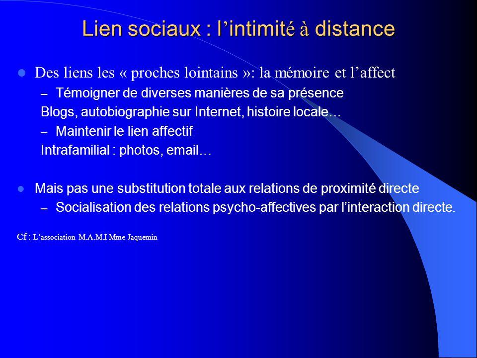 Lien sociaux : l intimit é à distance Des liens les « proches lointains »: la mémoire et laffect – Témoigner de diverses manières de sa présence Blogs