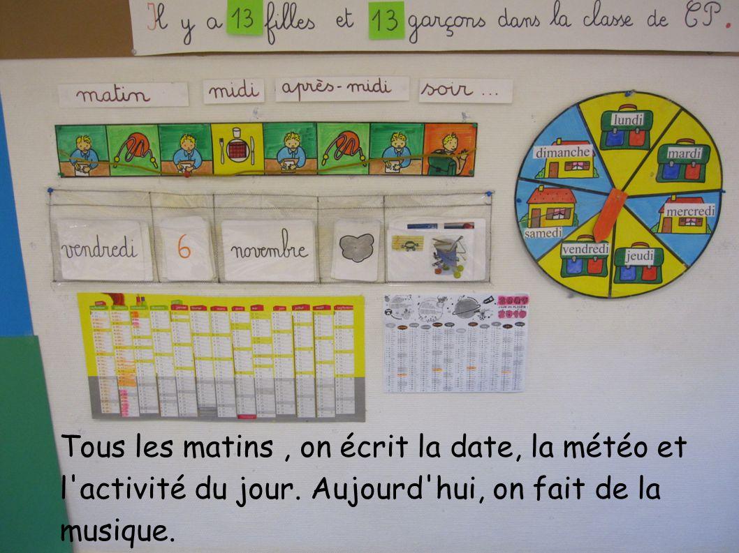 Tous les matins, on écrit la date, la météo et l activité du jour.