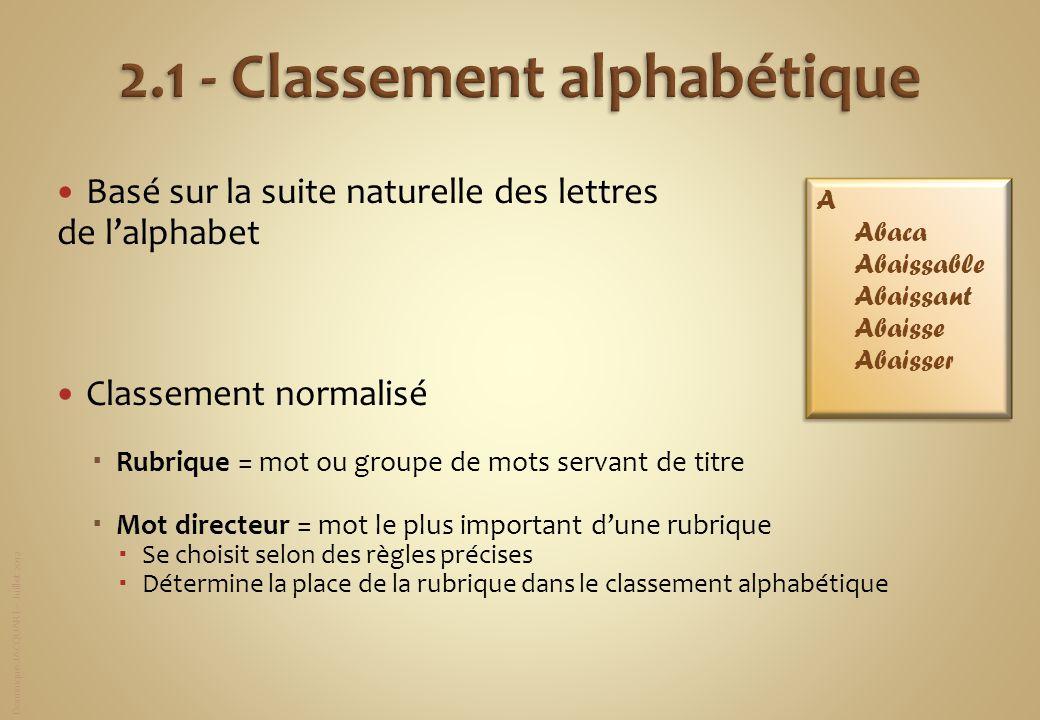 Dominique JACQUART – Juillet 2012 Basé sur la suite naturelle des lettres de lalphabet Classement normalisé Rubrique = mot ou groupe de mots servant d