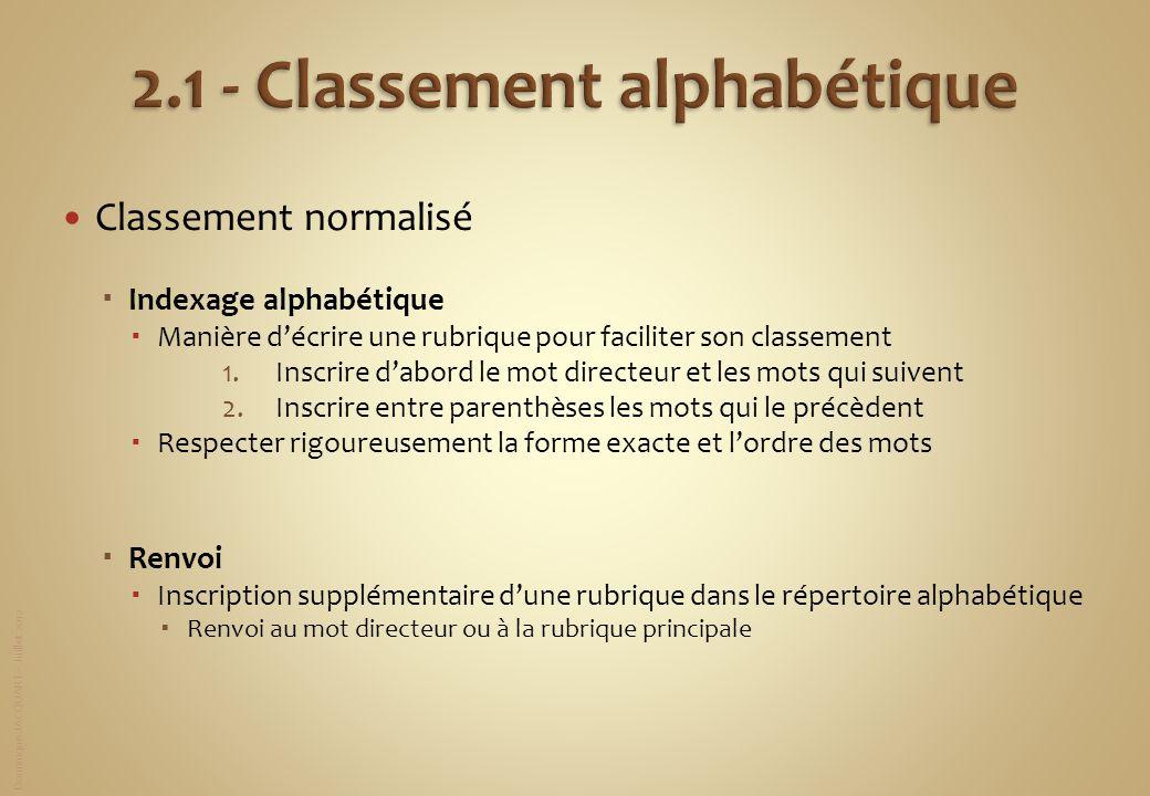 Dominique JACQUART – Juillet 2012 Classement normalisé Indexage alphabétique Manière décrire une rubrique pour faciliter son classement 1.Inscrire dab