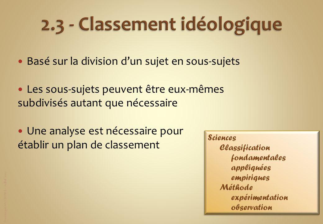 Dominique JACQUART – Juillet 2012 Basé sur la division dun sujet en sous-sujets Les sous-sujets peuvent être eux-mêmes subdivisés autant que nécessair