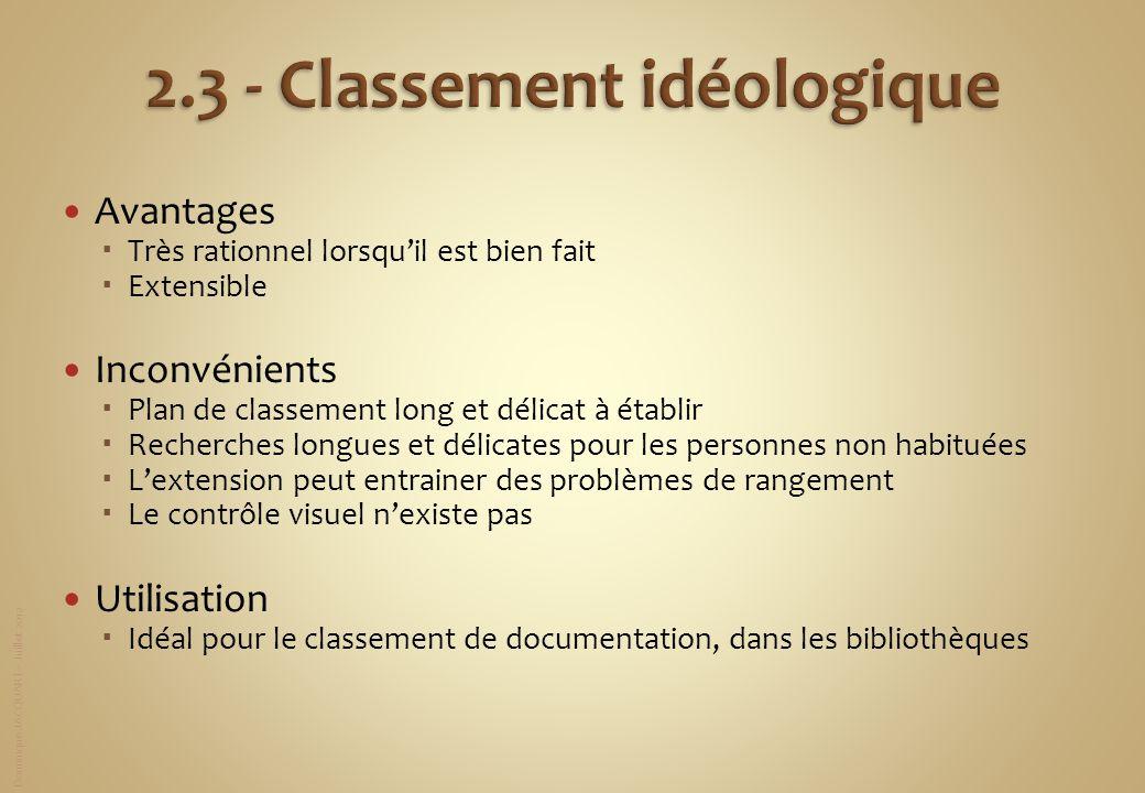 Dominique JACQUART – Juillet 2012 Avantages Très rationnel lorsquil est bien fait Extensible Inconvénients Plan de classement long et délicat à établi