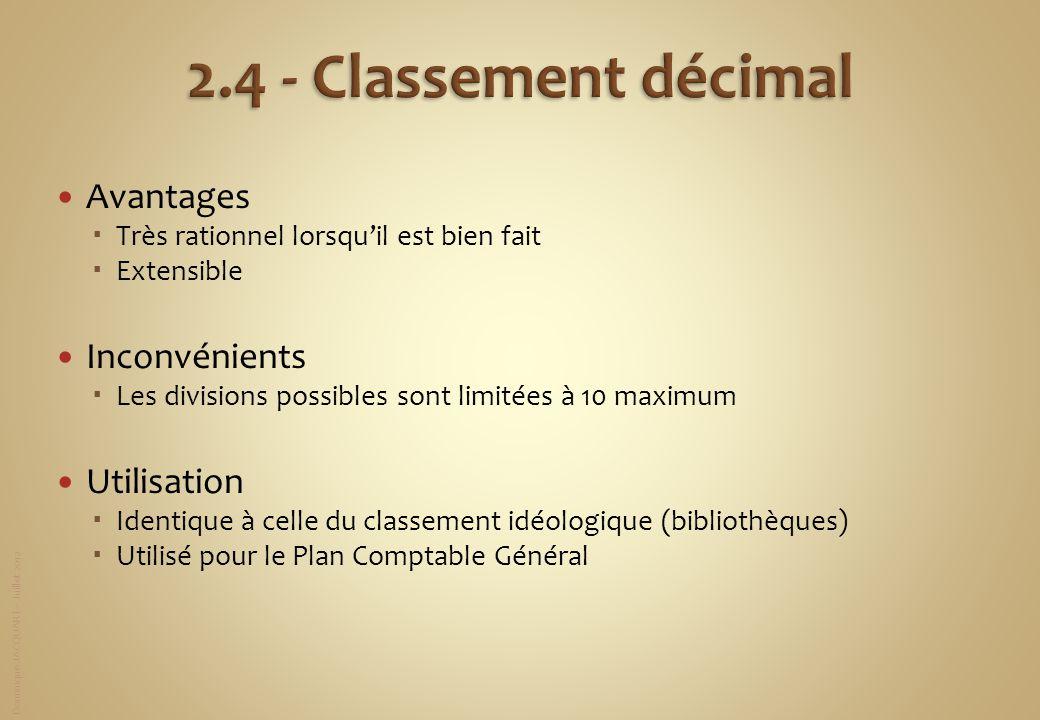 Dominique JACQUART – Juillet 2012 Avantages Très rationnel lorsquil est bien fait Extensible Inconvénients Les divisions possibles sont limitées à 10