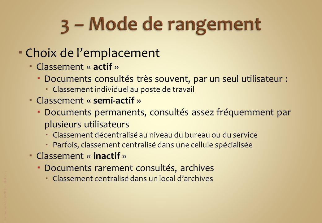 Dominique JACQUART – Juillet 2012 Choix de lemplacement Classement « actif » Documents consultés très souvent, par un seul utilisateur : Classement in