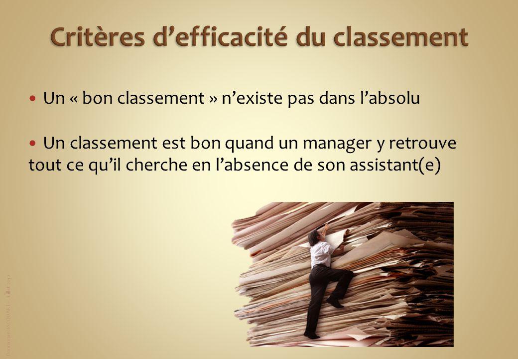 Dominique JACQUART – Juillet 2012 Un « bon classement » nexiste pas dans labsolu Un classement est bon quand un manager y retrouve tout ce quil cherch