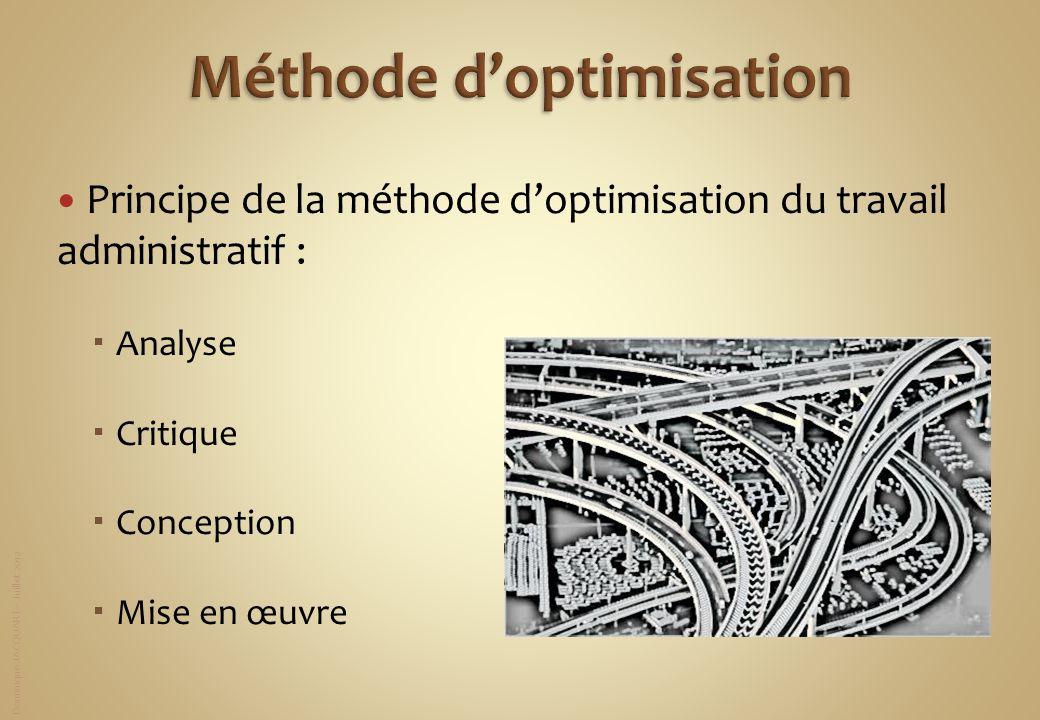 Dominique JACQUART – Juillet 2012 Principe de la méthode doptimisation du travail administratif : Analyse Critique Conception Mise en œuvre