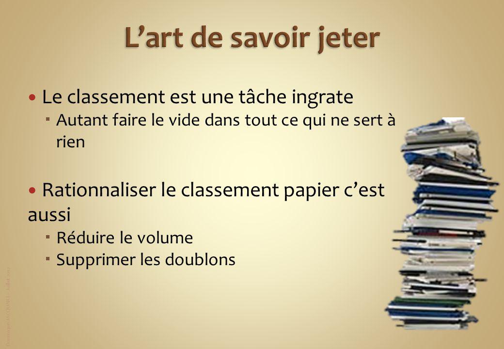 Dominique JACQUART – Juillet 2012 Le classement est une tâche ingrate Autant faire le vide dans tout ce qui ne sert à rien Rationnaliser le classement