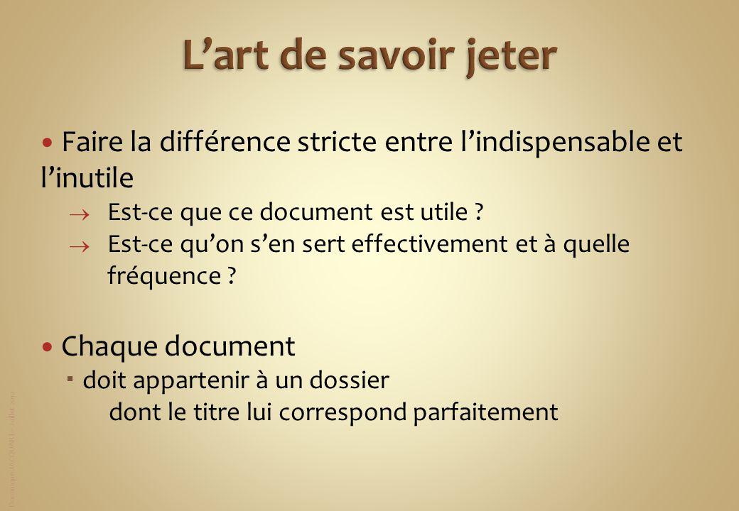 Dominique JACQUART – Juillet 2012 Faire la différence stricte entre lindispensable et linutile Est-ce que ce document est utile ? Est-ce quon sen sert