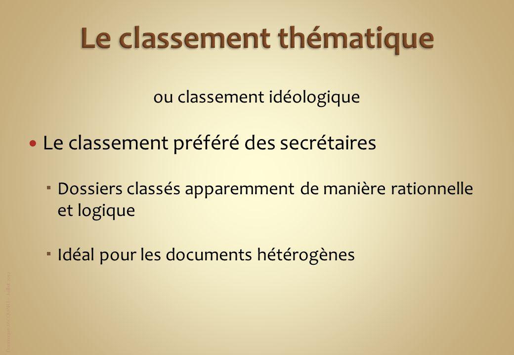 Dominique JACQUART – Juillet 2012 ou classement idéologique Le classement préféré des secrétaires Dossiers classés apparemment de manière rationnelle