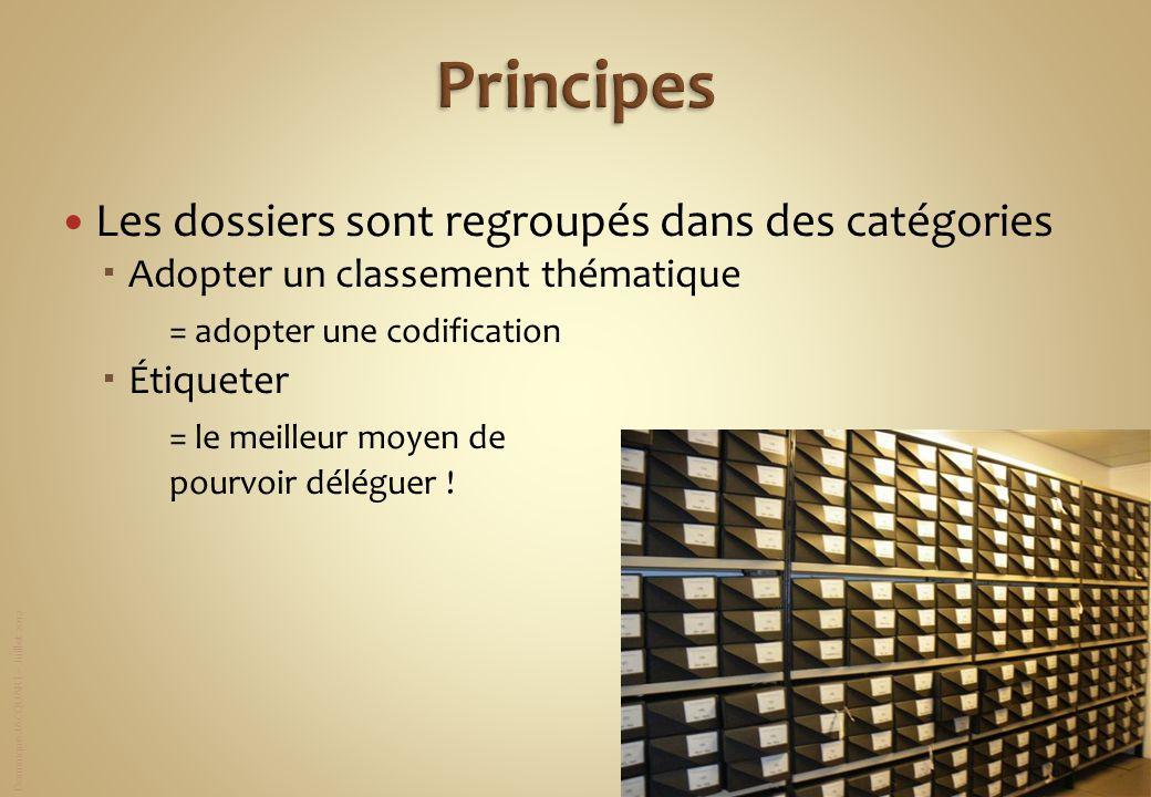 Dominique JACQUART – Juillet 2012 Les dossiers sont regroupés dans des catégories Adopter un classement thématique = adopter une codification Étiquete