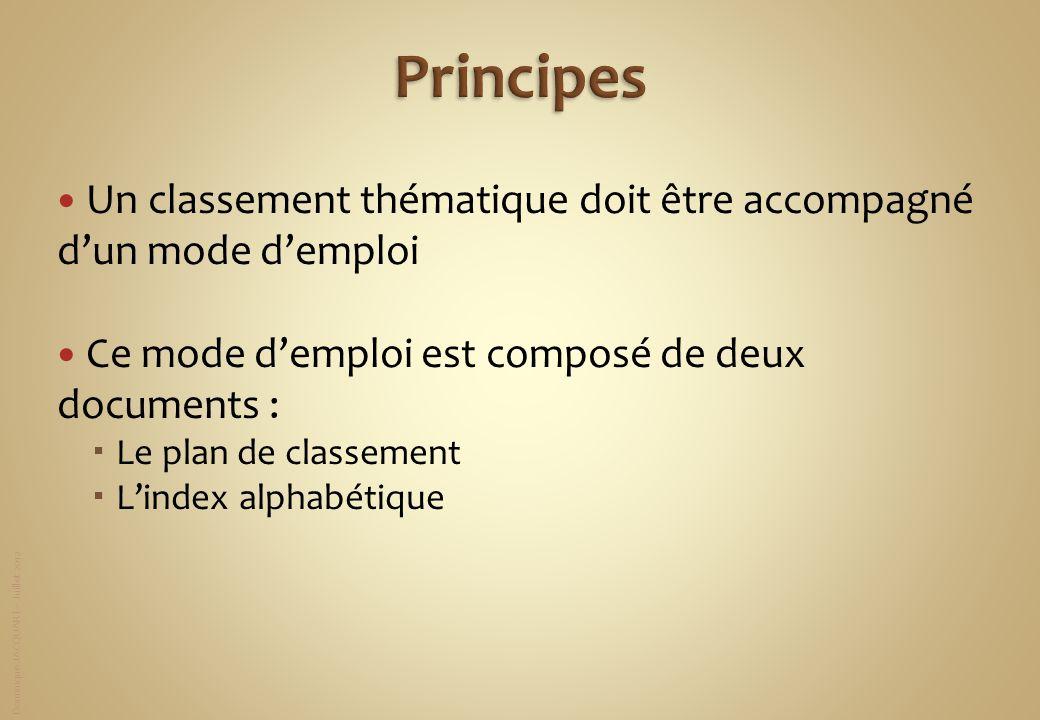 Dominique JACQUART – Juillet 2012 Un classement thématique doit être accompagné dun mode demploi Ce mode demploi est composé de deux documents : Le pl