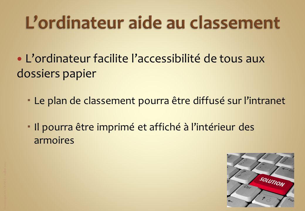 Dominique JACQUART – Juillet 2012 Lordinateur facilite laccessibilité de tous aux dossiers papier Le plan de classement pourra être diffusé sur lintra
